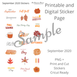 Planner Sticker Bundle - September 2020 - Digital and Cricut Ready
