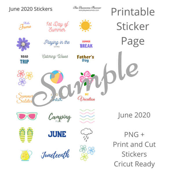 Planner Stickers - June 2020 - Digital Sticker Kit and Cricut Ready