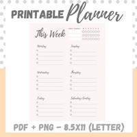 Printable - This Week - Letter Size 8.5 x 11