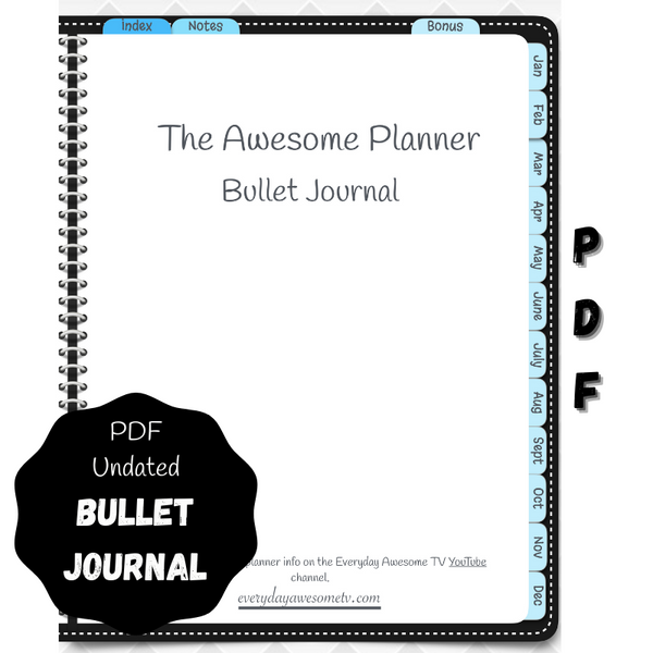 Digital PDF Bullet Journal - Undated - Black