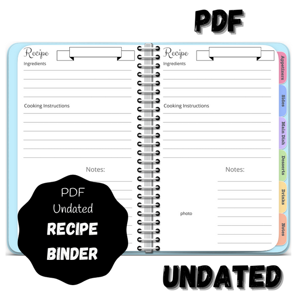 Digital PDF Recipe Binder - Recipe Book