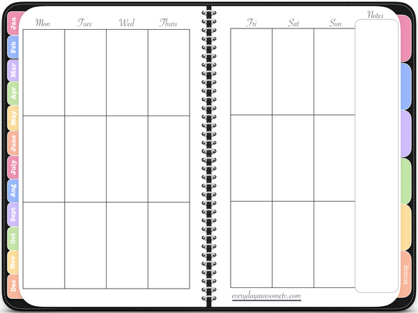 Undated Vertical Awesome Planner (2019 Version) - Black