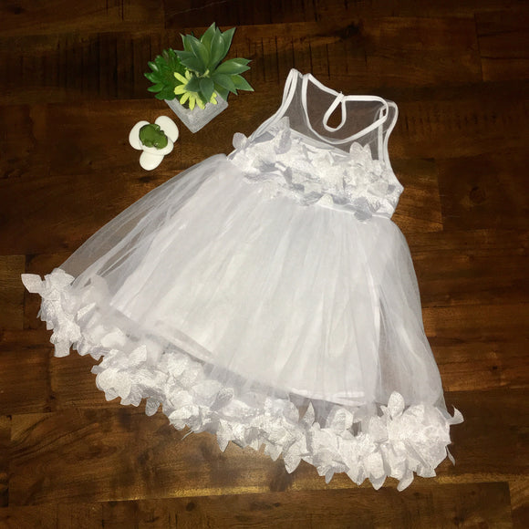 Stunning Girls Mesh Applique Dress - White - sizes 2-6 - Dresses The Little Frog Collective | Baby Clothes online store in Australia