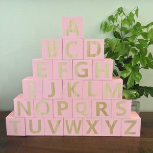 Handmade Wooden Alphabet Blocks - Light Pink