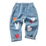Boyfriend Style Kids Jeans with Love Hearts sizes 3-7 - Pants The Little Frog Collective | Baby Clothes online store in Australia
