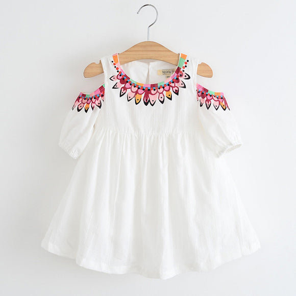 Girls Boho Style Dress with Cut-Out Shoulders - White sizes 3-6 - Dresses The Little Frog Collective | Baby Clothes online store in Australia