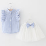 Light Blue Frill Sleeve Shirt + Tutu Skirt with Bow - Dresses The Little Frog Collective | Baby Clothes online store in Australia
