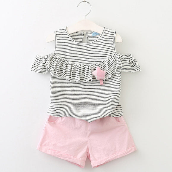 Girls Cut-Out Shoulder with Frill & Star Detail + Pink Shorts sizes 2-6 - Clothing Sets The Little Frog Collective | Baby Clothes online store in Australia