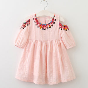 Girls Boho Style Dress with Cut-Out Shoulders - Pink sizes 3-7 - Dresses The Little Frog Collective | Baby Clothes online store in Australia