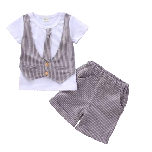 Clothing Set - White T-Shirt with Vest and Tie Decal + Shorts - sizes 12m-36m -  The Little Frog Collective | Baby Clothes online store in Australia