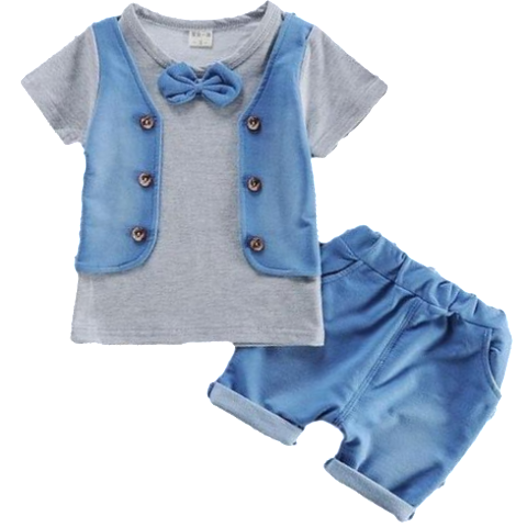 Clothing Set - Grey T-Shirt with Vest and Bowtie Decal + Shorts sizes 12m-36m -  The Little Frog Collective | Baby Clothes online store in Australia