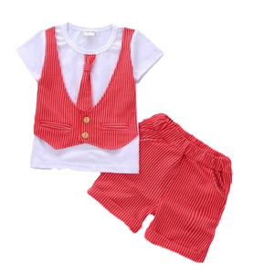 Clothing Set - White T-Shirt with Red Vest and Tie Decal + Shorts sizes 12m-36m -  The Little Frog Collective | Baby Clothes online store in Australia
