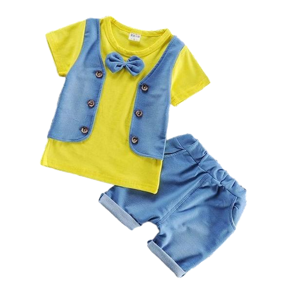 Clothing Set - Yellow T-Shirt with Vest and Bowtie Decal + Shorts - sizes 12m-36m -  The Little Frog Collective | Baby Clothes online store in Australia