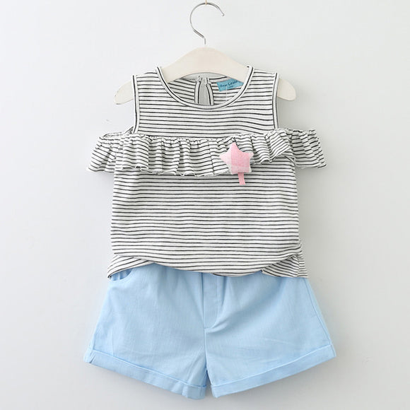Girls Cut-Out Shoulder with Frill & Star Detail + Blue Shorts sizes 2-6 - Clothing Sets The Little Frog Collective | Baby Clothes online store in Australia