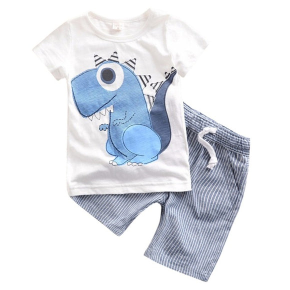 Little Boys Dinosaur T-Shirt and Striped Short Set - sizes 24m-6y