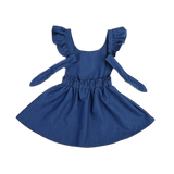 Girls Denim Dress with Shoulder Decal and Tie-Up Back - sizes 2-5 -  The Little Frog Collective | Baby Clothes online store in Australia