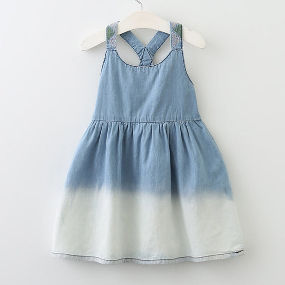 Girls Denim Dress with Shoulder Decal sizes 3-7 - Dresses The Little Frog Collective | Baby Clothes online store in Australia
