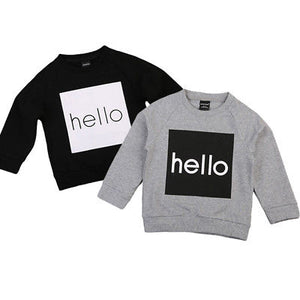 Toddler & Kids 'Hello' Jumper - Black - sizes 2-6 -  The Little Frog Collective | Baby Clothes online store in Australia
