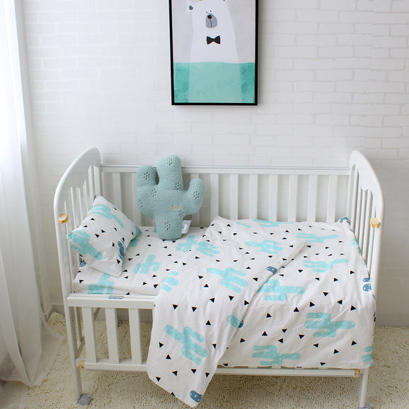 Premium Quality 100% Cotton Baby and Toddler 3 piece Cot Set - Cactus -  The Little Frog Collective | Baby Clothes online store in Australia