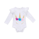 Unicorn Romper White - LONG SLEEVE - sizes 6m-24m -  The Little Frog Collective | Baby Clothes online store in Australia