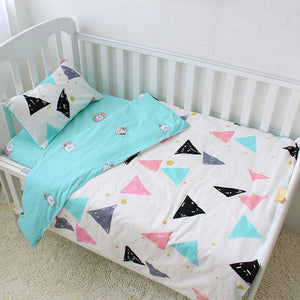 Premium Quality 100% Cotton Baby and Toddler 3 piece Cot Set - Triangles -  The Little Frog Collective | Baby Clothes online store in Australia
