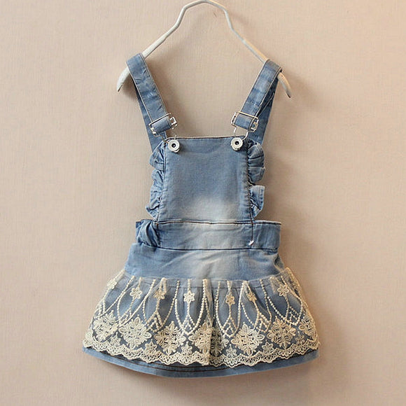 Girls Overall Style Dress with Lace Decal sizes 9m-12m