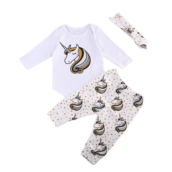 Baby Girls Unicorn 3 piece Clothing Set sizes NB-18m -  The Little Frog Collective | Baby Clothes online store in Australia