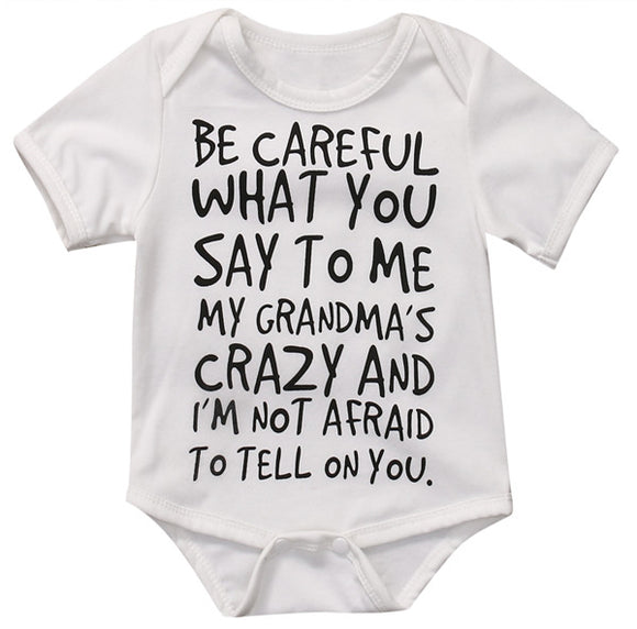 My Grandma's Crazy Romper sizes NB-12m -  The Little Frog Collective | Baby Clothes online store in Australia