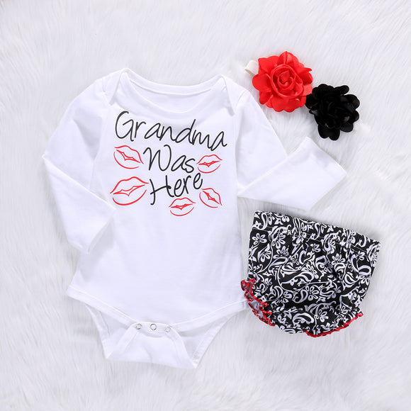 Girls 'Grandma Was Here' Clothing Set - Romper, Headband and Bloomers -  The Little Frog Collective | Baby Clothes online store in Australia