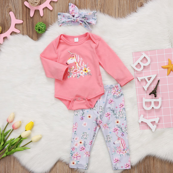 Girls Unicorn Clothing Set - Romper, Headband & Pants sizes 3-18m -  The Little Frog Collective | Baby Clothes online store in Australia