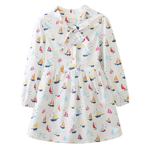 Let's go Sailing Dress - White sizes 3-7 - Dresses The Little Frog Collective | Baby Clothes online store in Australia