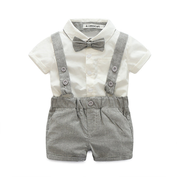 Little Boys Clothing Set  - Collared Shirt with Bowtie + Shorts with Suspenders sizes 6m-24m -  The Little Frog Collective | Baby Clothes online store in Australia