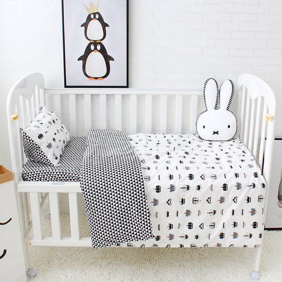 Premium Quality 100% Cotton Baby and Toddler 5 piece Cot Set - Black Crown -  The Little Frog Collective | Baby Clothes online store in Australia
