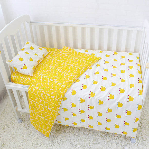 Premium Quality 100% Cotton Baby and Toddler 5 piece Cot Set - Gold Crown -  The Little Frog Collective | Baby Clothes online store in Australia