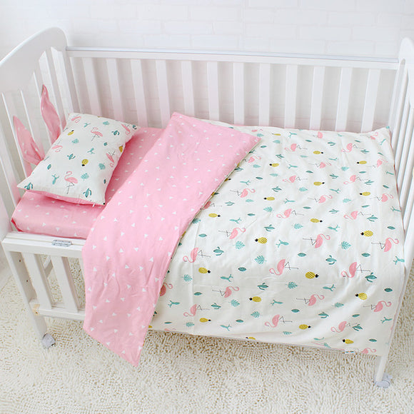 Premium Quality 100% Cotton Baby and Toddler 5 piece Cot Set - Flamingo -  The Little Frog Collective | Baby Clothes online store in Australia