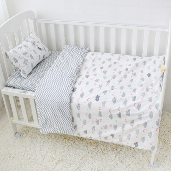 Premium Quality 100% Cotton Baby and Toddler 5 piece Cot Set - Clouds -  The Little Frog Collective | Baby Clothes online store in Australia