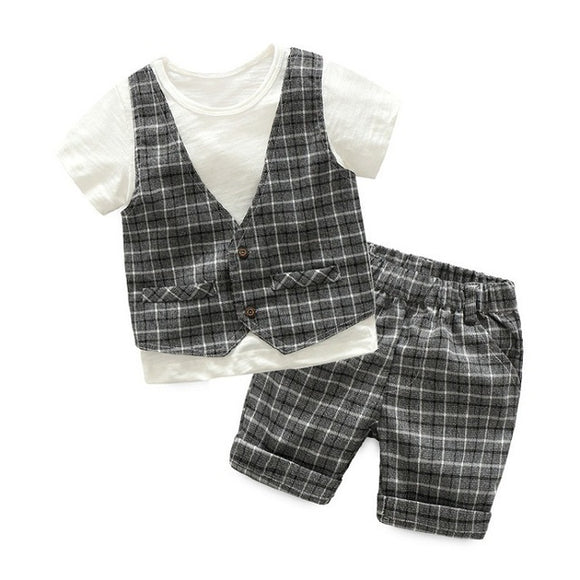 Boys White T-Shirt with Checkered Vest + Shorts - sizes 3-7 -  The Little Frog Collective | Baby Clothes online store in Australia