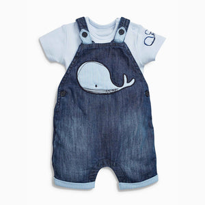 Whale of a Time Little Boys Overalls + T-Shirt NB-24m -  The Little Frog Collective | Baby Clothes online store in Australia