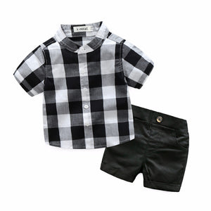 Little Boys Round Neck Button-Up Shirt with Black Shorts sizes 3m-24m -  The Little Frog Collective | Baby Clothes online store in Australia