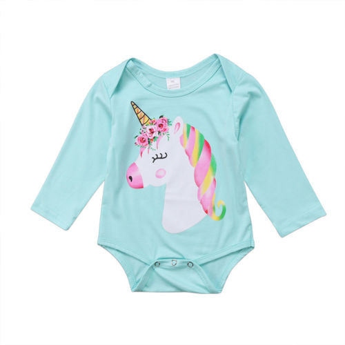 Light Blue Unicorn Romper - sizes 3m-18m -  The Little Frog Collective | Baby Clothes online store in Australia