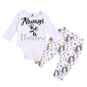 Always Be A Unicorn Romper & Pants 2 Piece Set sizes NB-12m -  The Little Frog Collective | Baby Clothes online store in Australia