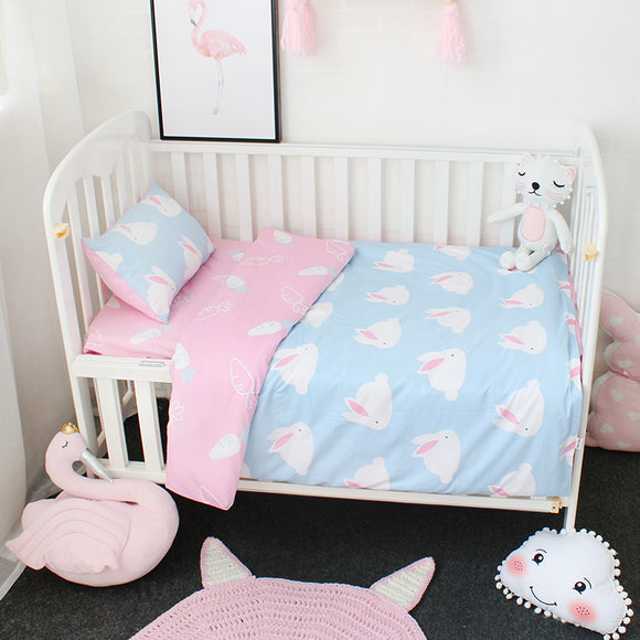 Premium Quality 100% Cotton Baby and Toddler 3 piece Reversible Cot Set - Bunny Rabbits