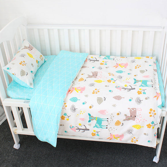 Premium Quality 100% Cotton Baby and Toddler 3 piece Cot Set - Deer