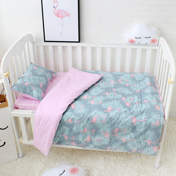 Premium Quality 100% Cotton Baby and Toddler 3 piece Cot Set - Flamingo's and Leaves