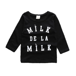 'Milk de la Milk' Long Sleeve Round Neck Top - sizes 6m-36m -  The Little Frog Collective | Baby Clothes online store in Australia