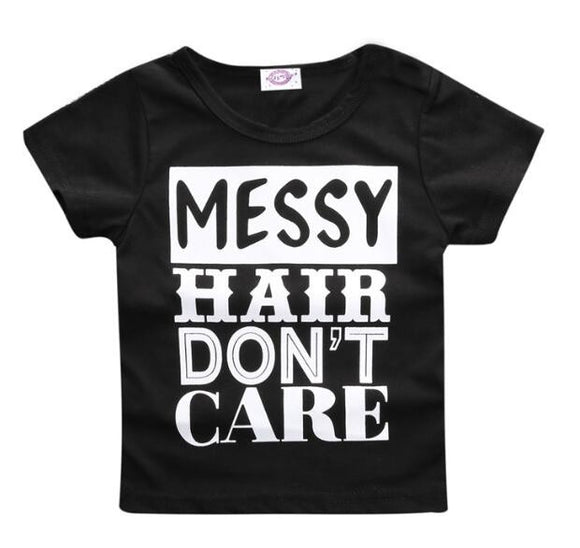 'Messy Hair Don't Care' T-Shirt - sizes 6m-36m -  The Little Frog Collective | Baby Clothes online store in Australia