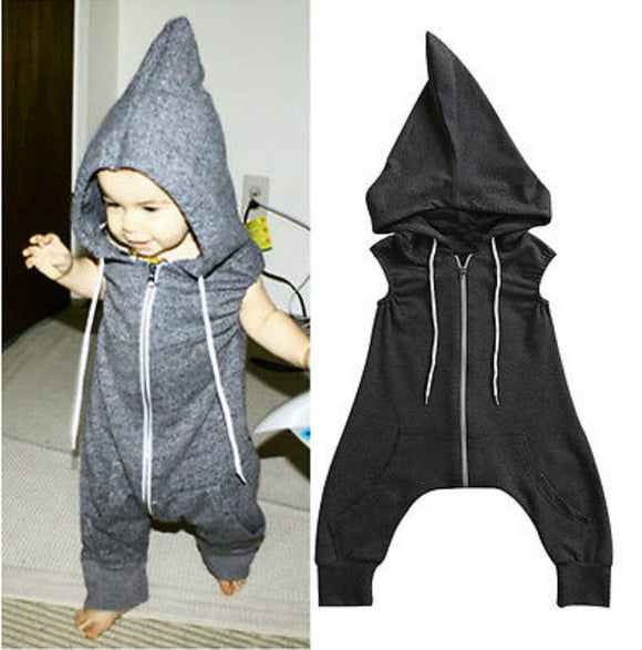 Hip Hop Hot Sleeveless Unisex Jumpsuit with Hood 0 - 4 Years