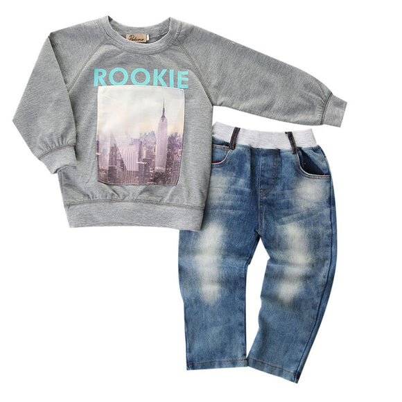 Boys Rookie Lightweight Jumper, Soft Denim Jeans Clothing Set Sizes 2 - 7 Years.