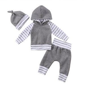 Boys Winter 3 Piece Grey Stripe Clothing Set Sizes 0 - 18 Months