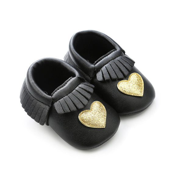 Leather Look First Walker Girl's Moccasins 0 - 18 Months  - Black With Gold Heart